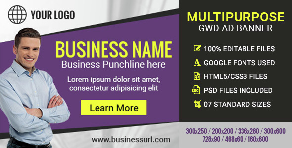 GWD | Multipurpose Business Banners - 7 Sizes - CodeCanyon Item for Sale