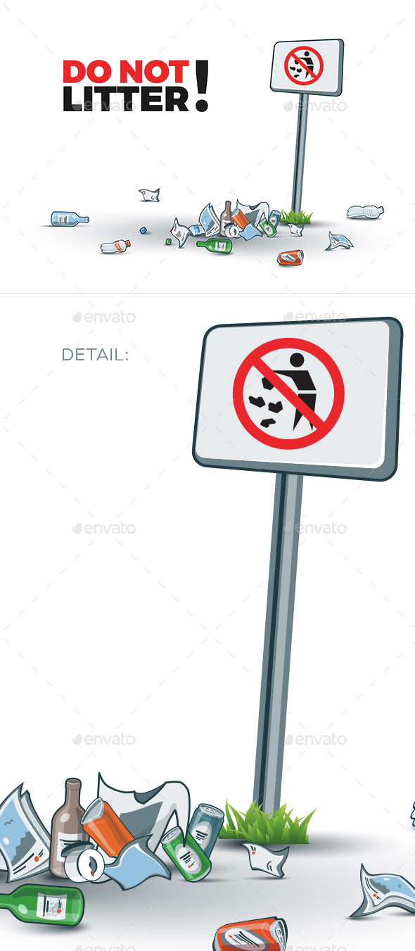 No Littering Sign and Waste - Concepts Business