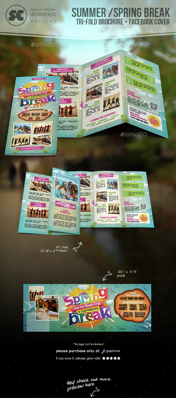 Summer / Spring Break Tri-Fold - Brochures Print Templates