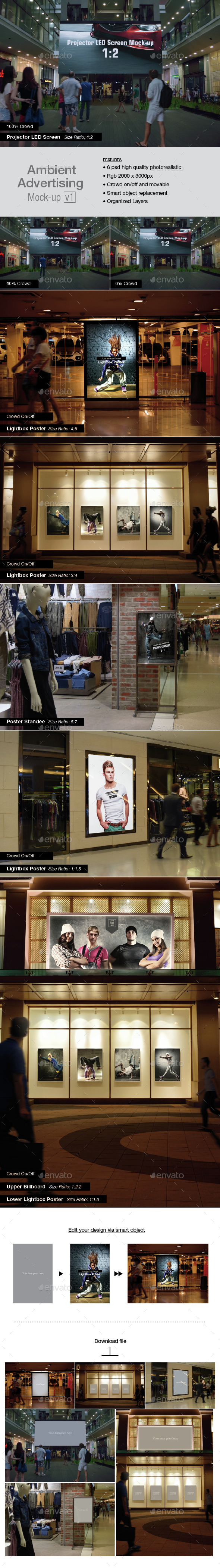Ambient Advertising Mock-up v1 - Product Mock-Ups Graphics