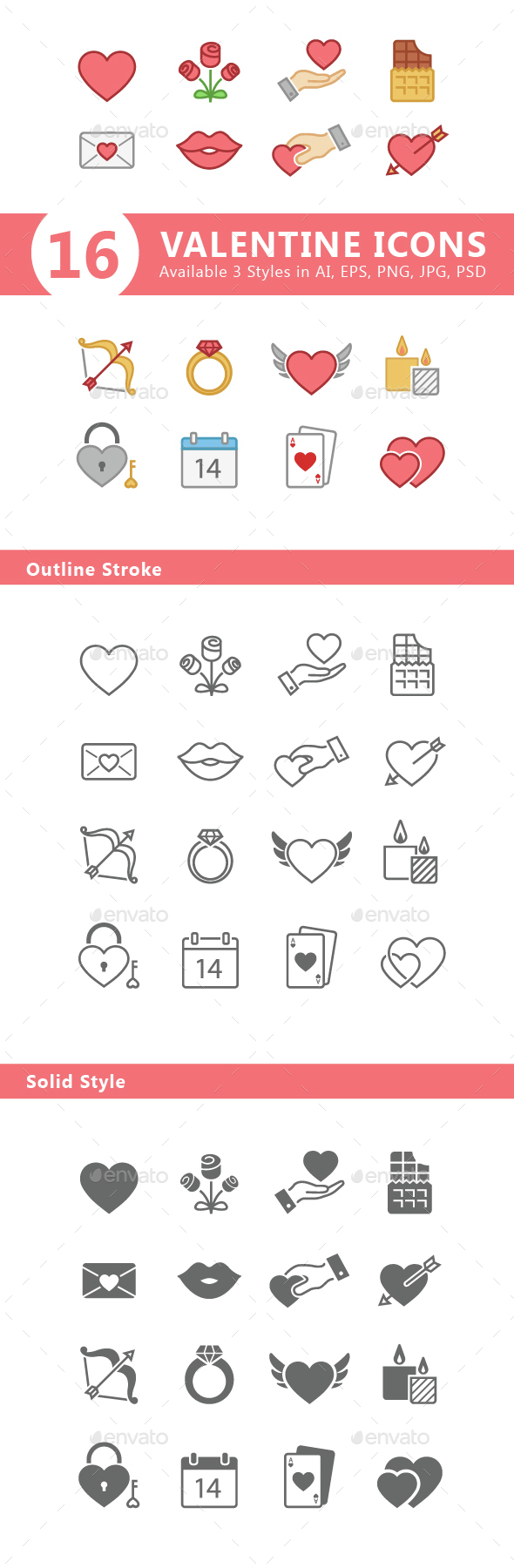 Set of 3 Styles of Valentine Icons - Icons