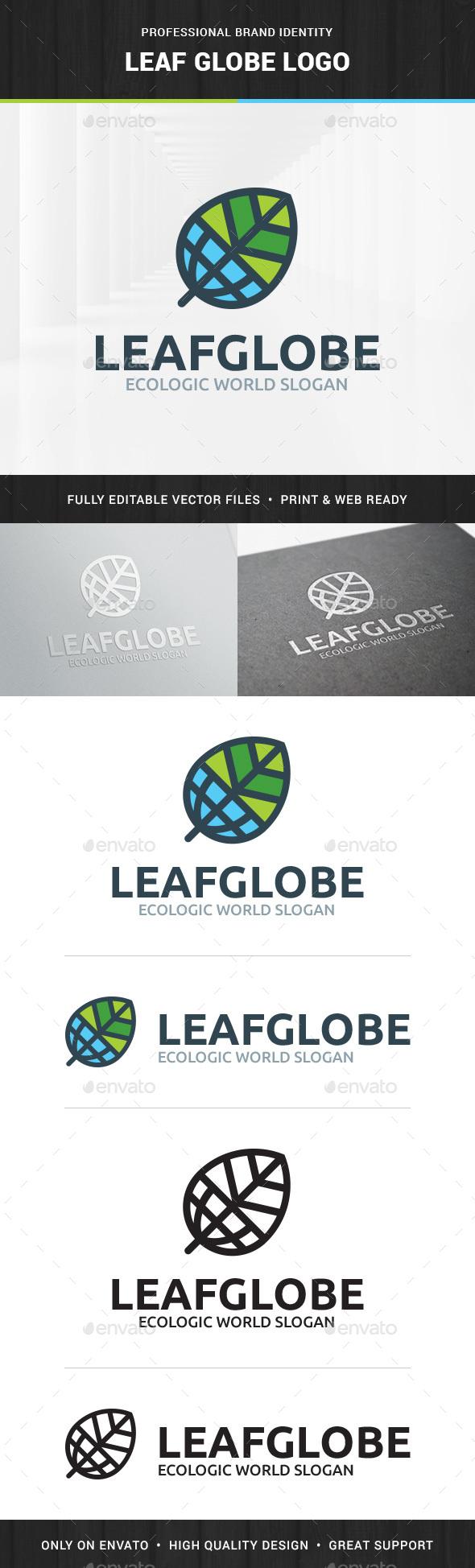 Leaf Globe Logo Template - Nature Logo Templates