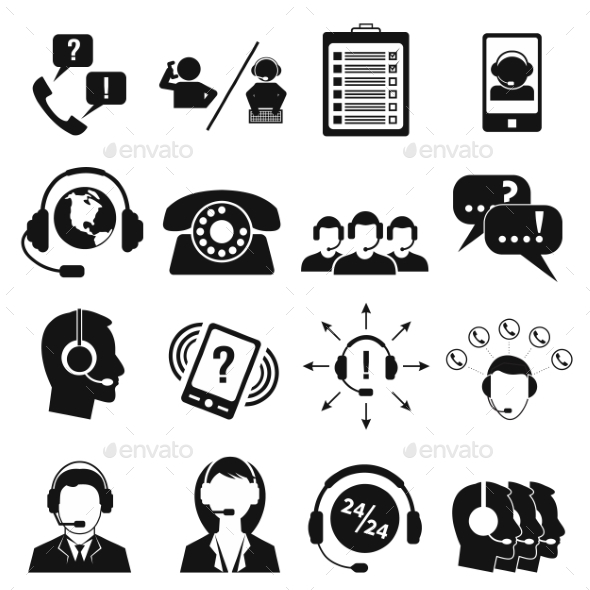 Call Center Service Icons Set  - Miscellaneous Icons