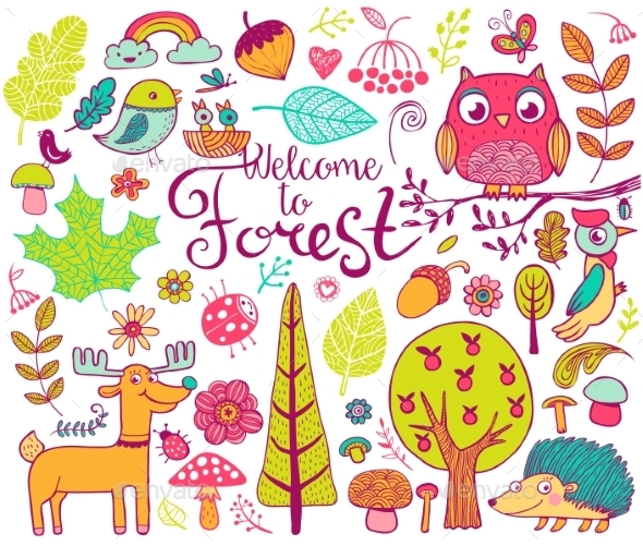 Forest Design Elements in Doodle Style - Flowers & Plants Nature