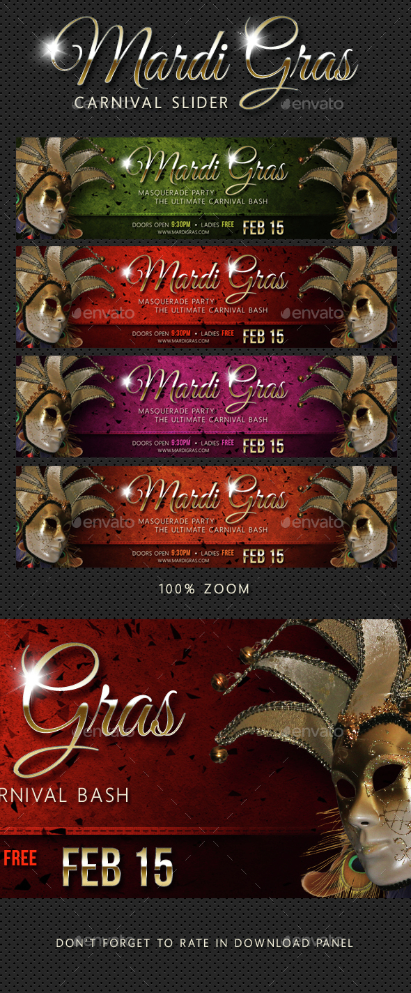 Mardi Gras Carnival Party Event Slider - Sliders & Features Web Elements