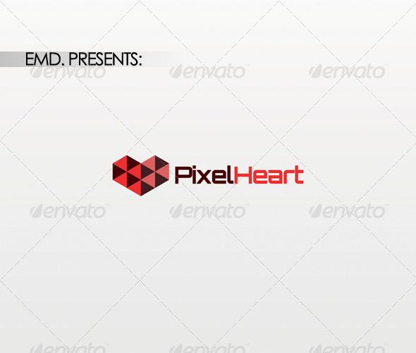 Pixel Heart Logo - Symbols Logo Templates