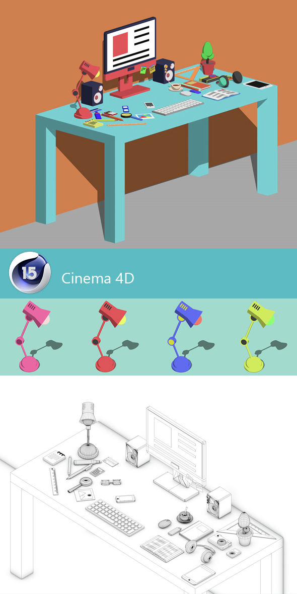 Desk office illustrator - 3DOcean Item for Sale