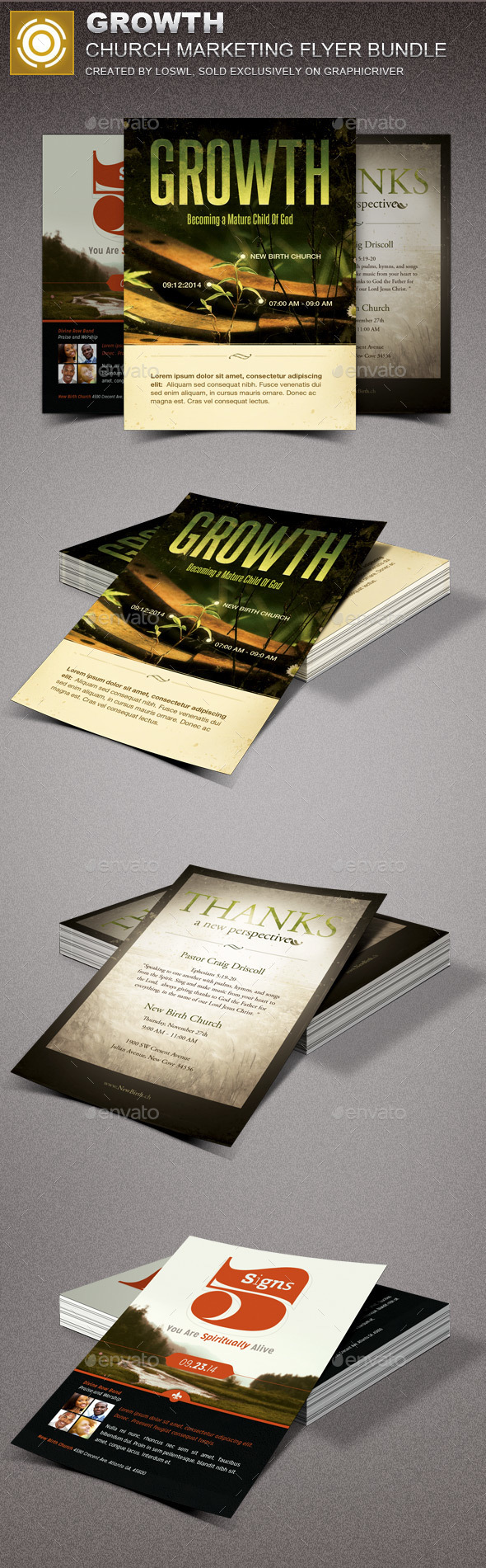 Growth Church Marketing Flyer Template Bundle - Church Flyers