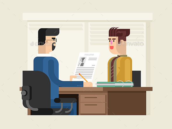 Job Interview Flat Design - People Characters