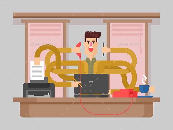 Man Office Worker Multitasking - People Characters