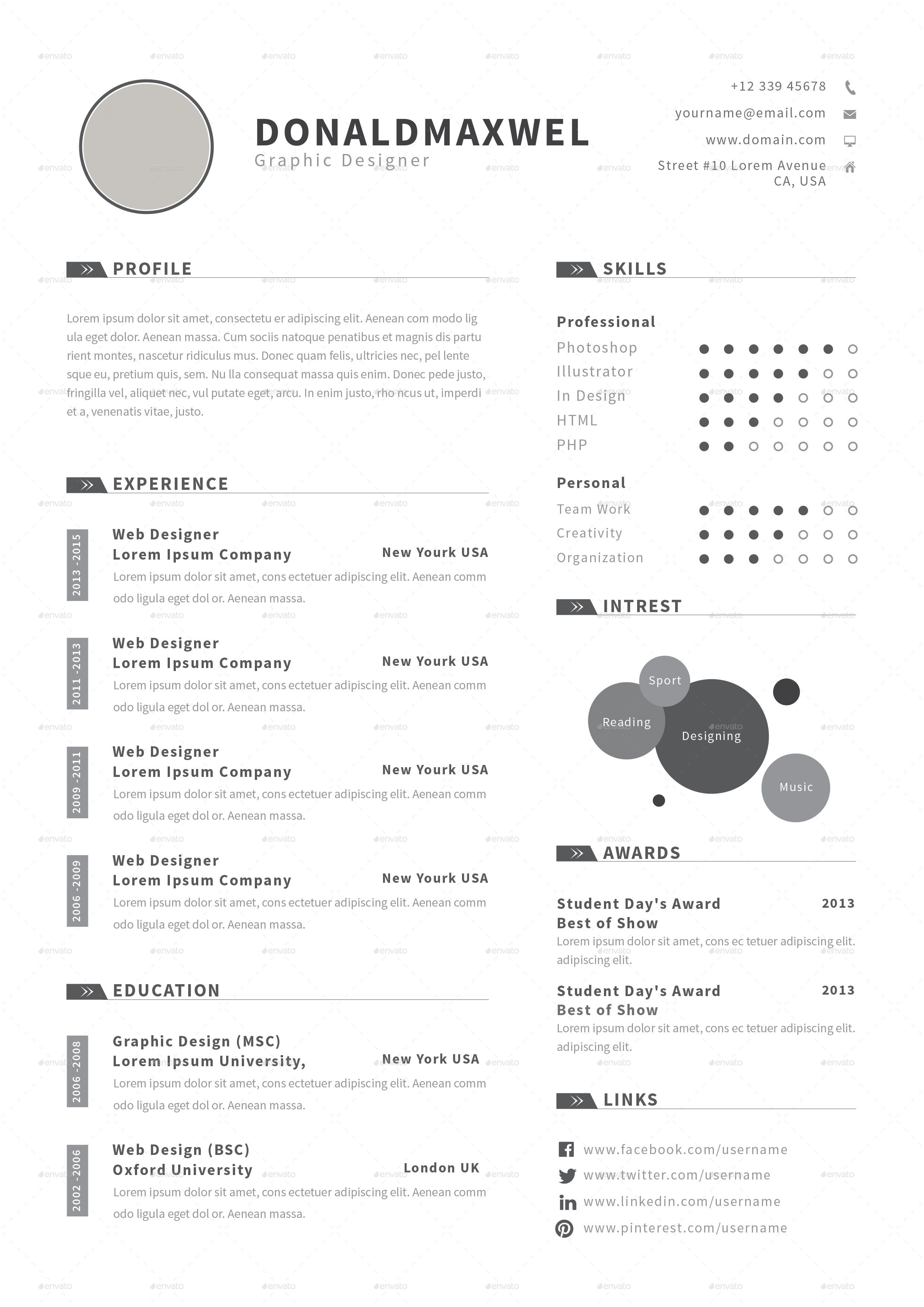 cv resume by butterfly graphic graphicriver