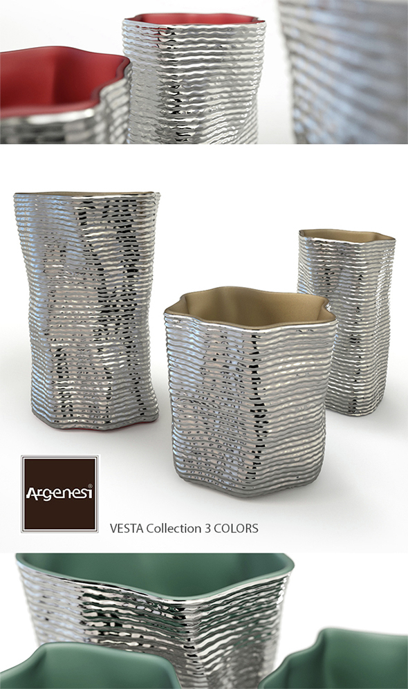 Silver vases by Argenesi Vesta series - 3DOcean Item for Sale