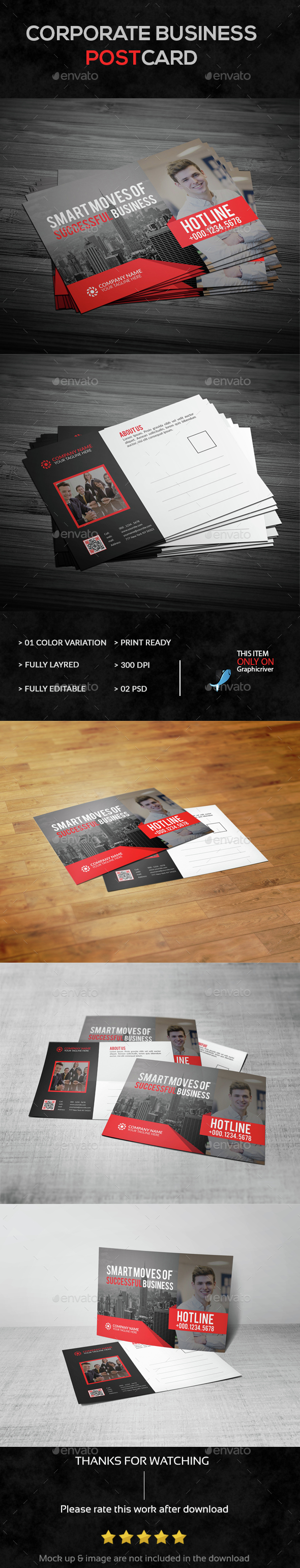 Corporate Business Post Card - Cards & Invites Print Templates