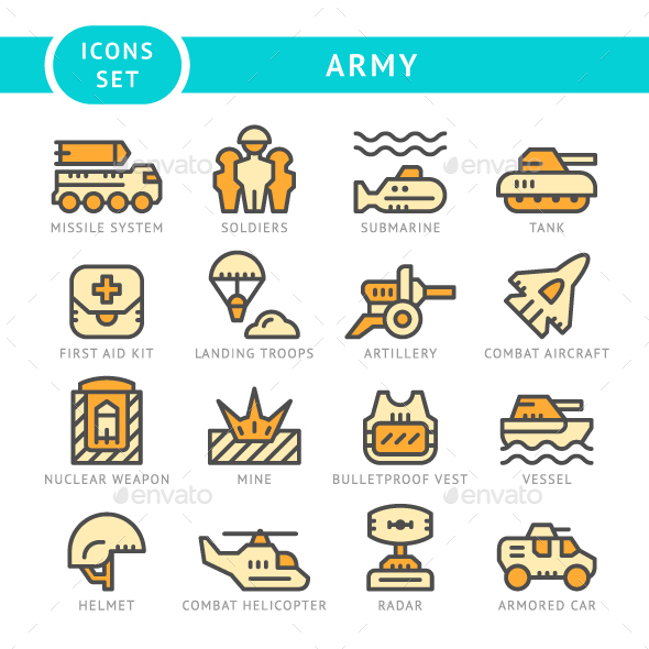 Set Line Icons of Army - Man-made objects Objects