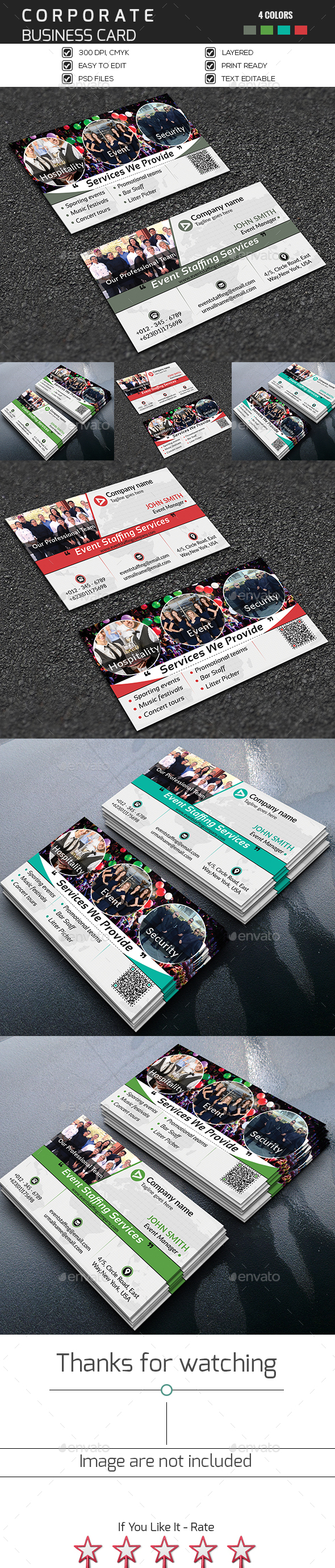 Event Staffing Business Card - Corporate Business Cards