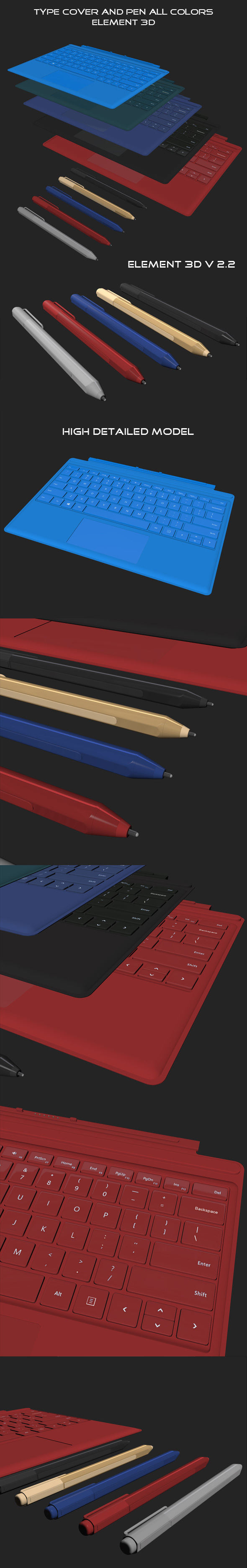 Element3D - Type Cover and Pen All Colors - 3DOcean Item for Sale