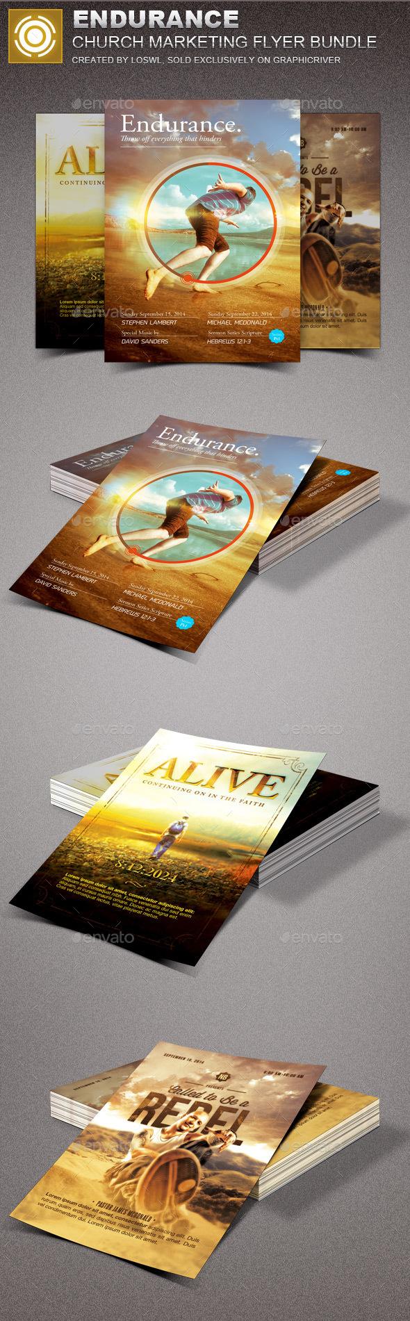 Endurance Church Marketing Flyer Template Bundle - Church Flyers