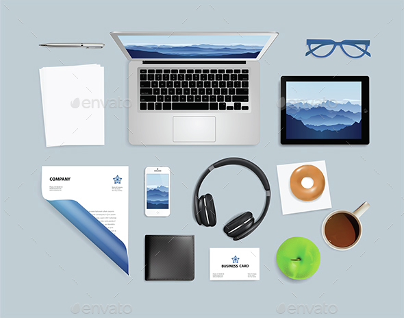 Top View of Notebook Phone Headphones and More - Concepts Business
