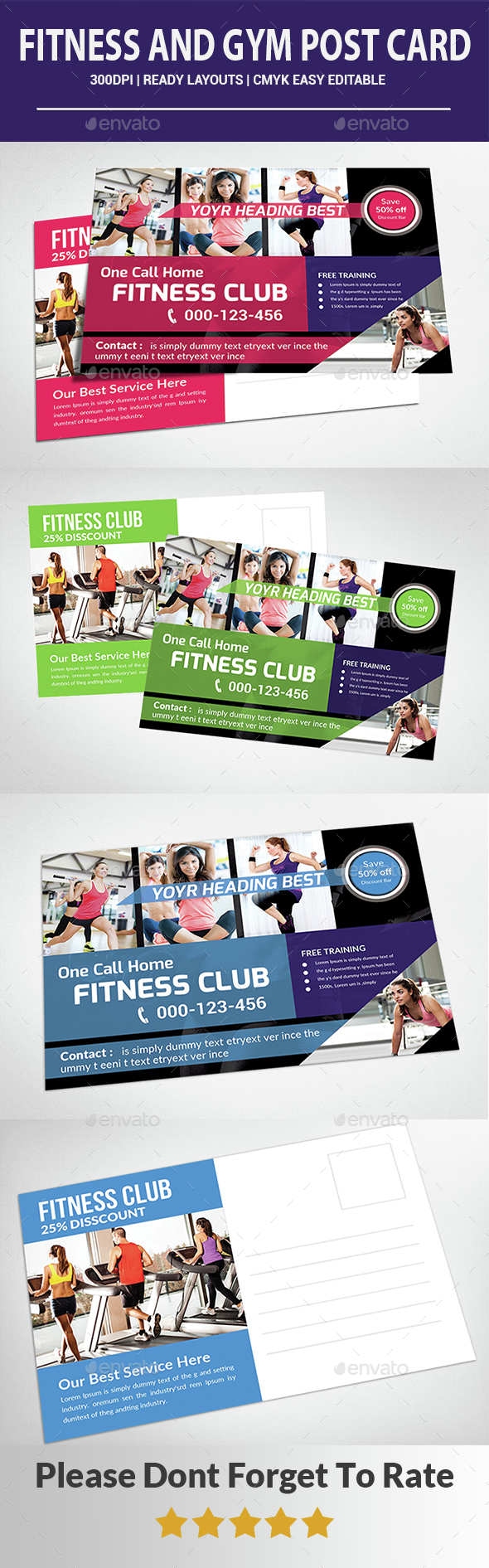 Fitness and GYM Post Card - Cards & Invites Print Templates