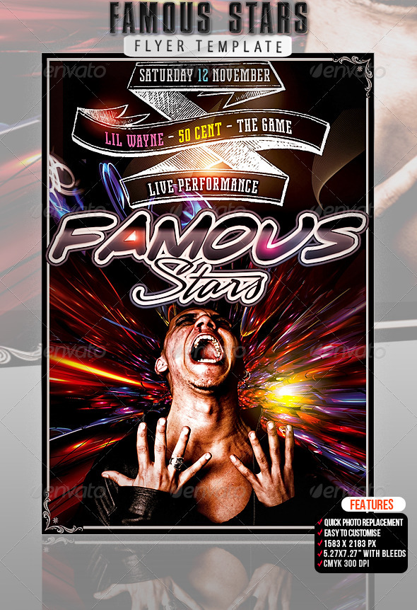 Famous Stars Flyer Template - Clubs & Parties Events