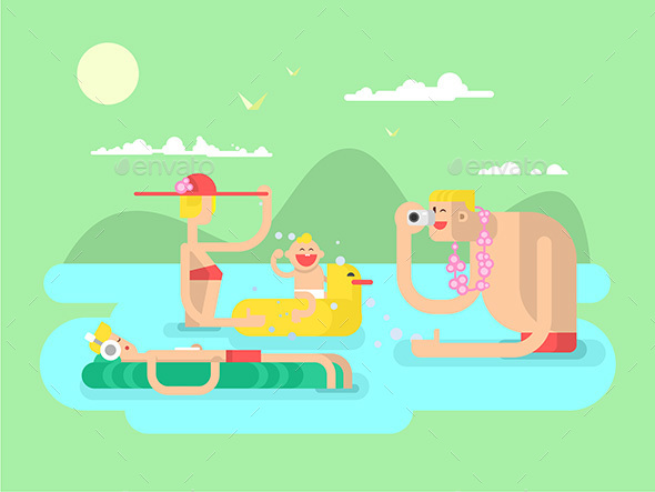 Vacation Family Design Flat - People Characters