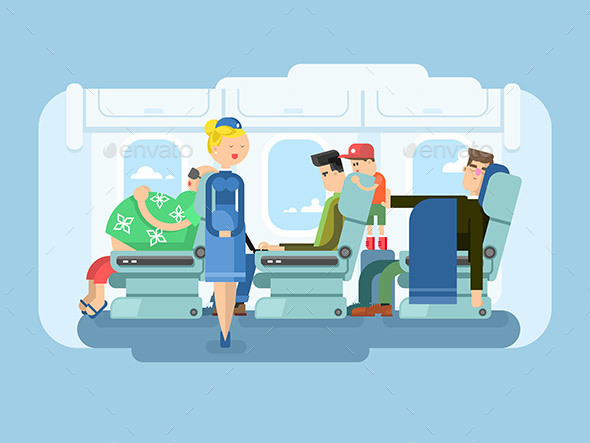 Interior of Plane Flat Design - People Characters