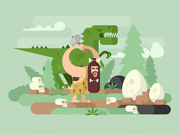 Primitive Man with Dinosaur - Miscellaneous Characters