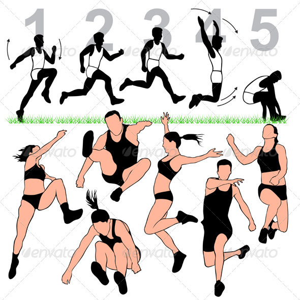 Long Jump Silhouettes Set  - Sports/Activity Conceptual