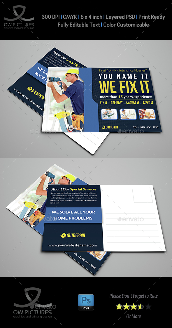 House Repair Postcard Template - Cards & Invites Print Templates