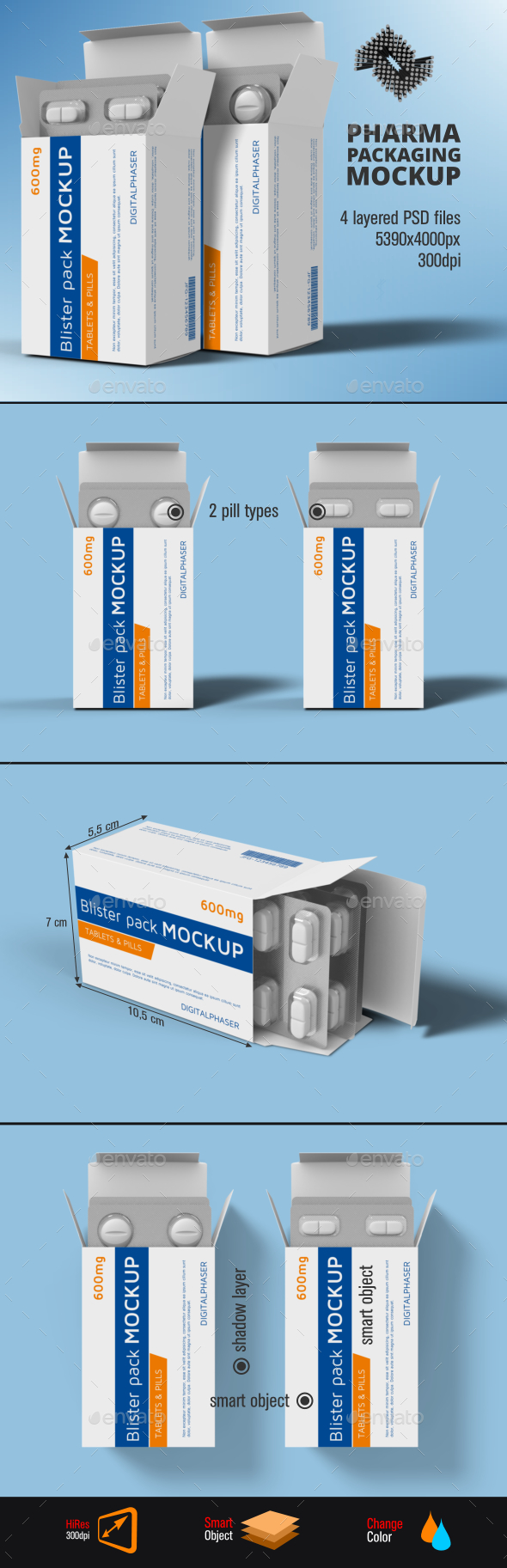 Tablets Capsule Blister Pack Box Mockup - Packaging Product Mock-Ups