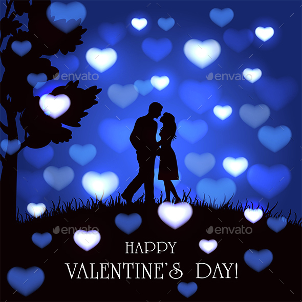 Blue Valentines Background with Hearts and Couple - Valentines Seasons/Holidays