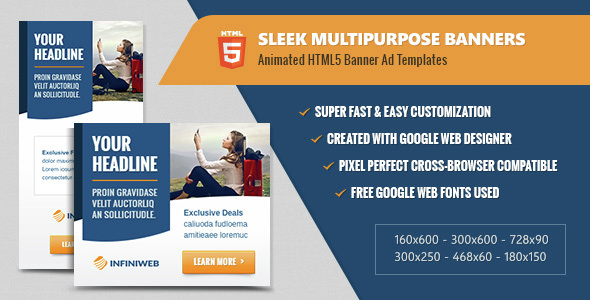 Sleek Multipurpose Banners - HTML5 Animated Ad Templates - CodeCanyon Item for Sale