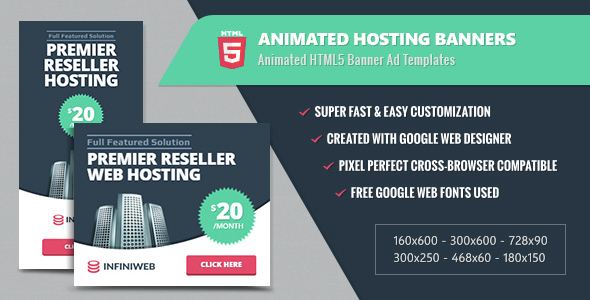 Animated Hosting Banners - HTML5 Google Web Designer - CodeCanyon Item for Sale