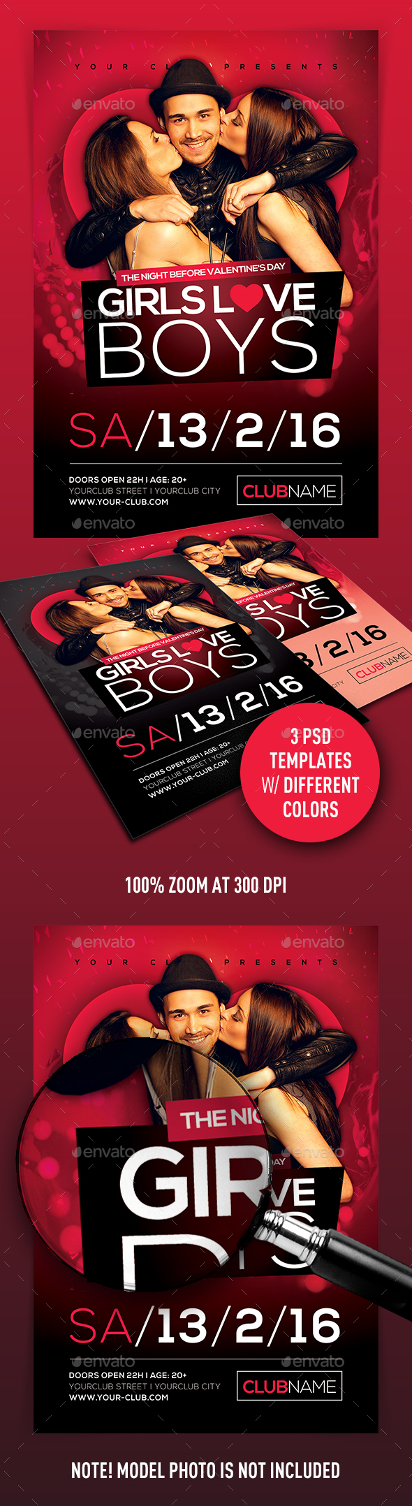 Girls Love Boys Flyer - Clubs & Parties Events