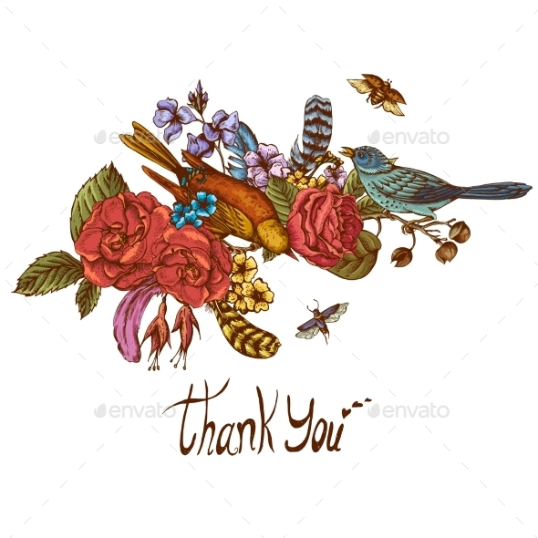 Thank You Hand Drawn Vector Greeting Card - Backgrounds Decorative