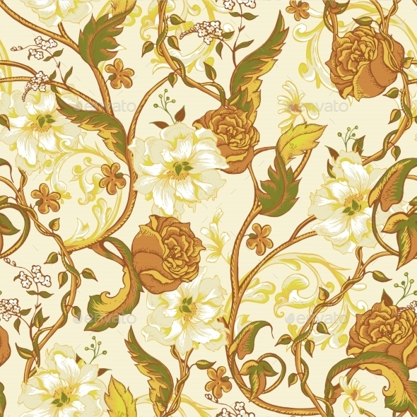 Vintage Seamless Pattern with Blooming Magnolias - Patterns Decorative