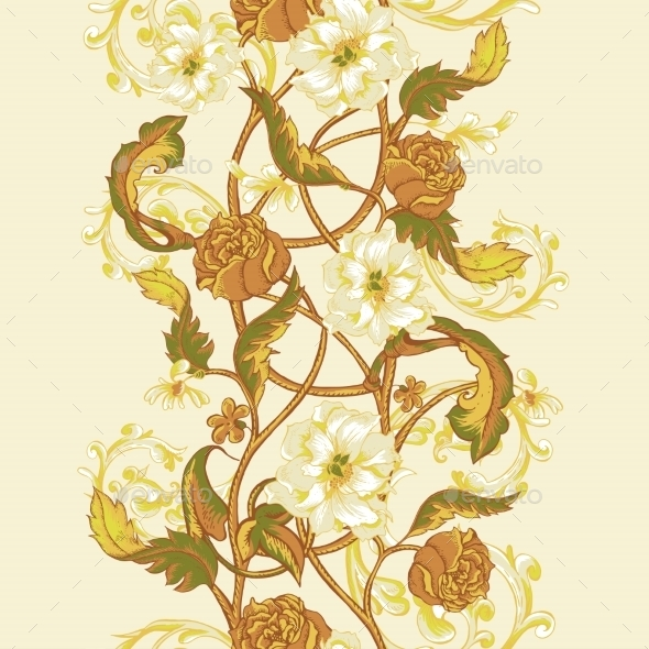 Vintage Seamless Border With Blooming Magnolias - Patterns Decorative