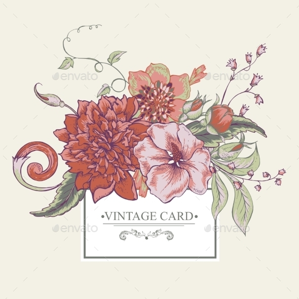 Vintage Botanical Greeting Card With Blooming - Patterns Decorative