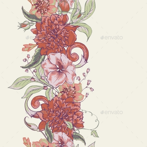 Vintage Botanical Seamless Border With Blooming - Patterns Decorative