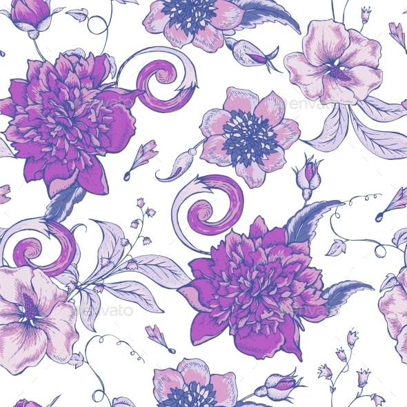 Vintage Botanical Seamless Pattern With Blooming - Patterns Decorative
