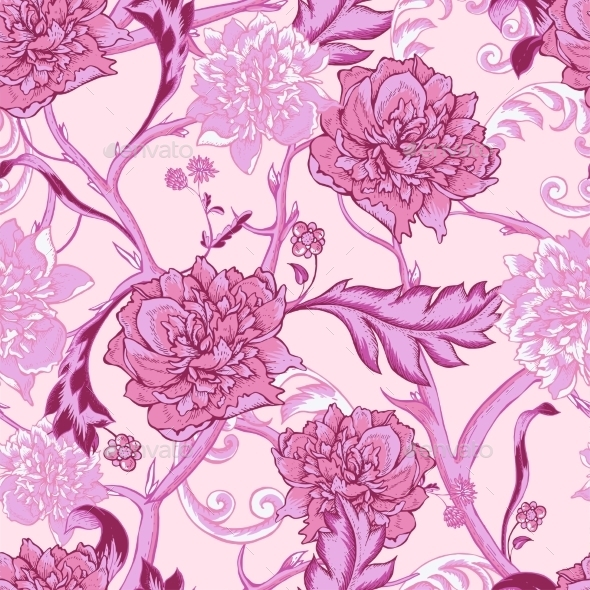 Vintage Pink Seamless Pattern With Peony And Twigs - Patterns Decorative