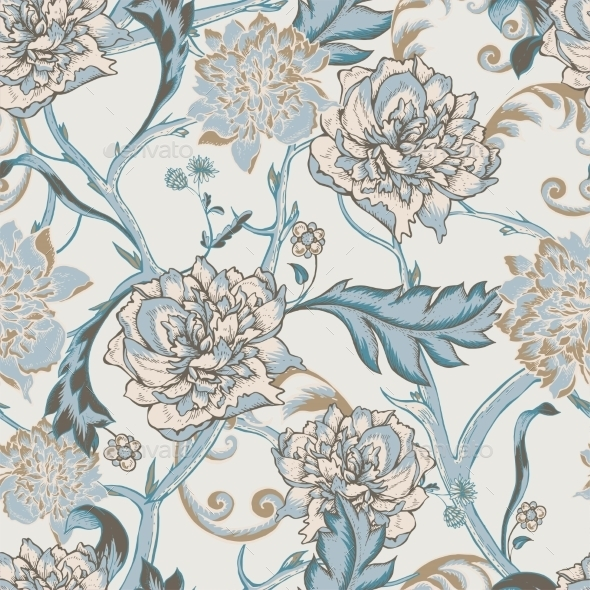 Seamless Pattern With Blooming Peony - Patterns Decorative