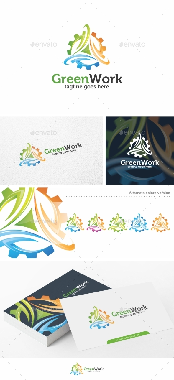 Green Work / Gear - Logo Template - Nature Logo Templates