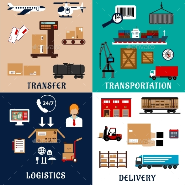 Freight Transportation And Logistics Flat Icons - Industries Business