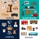 Freight Transportation And Logistics Flat Icons - GraphicRiver Item for Sale