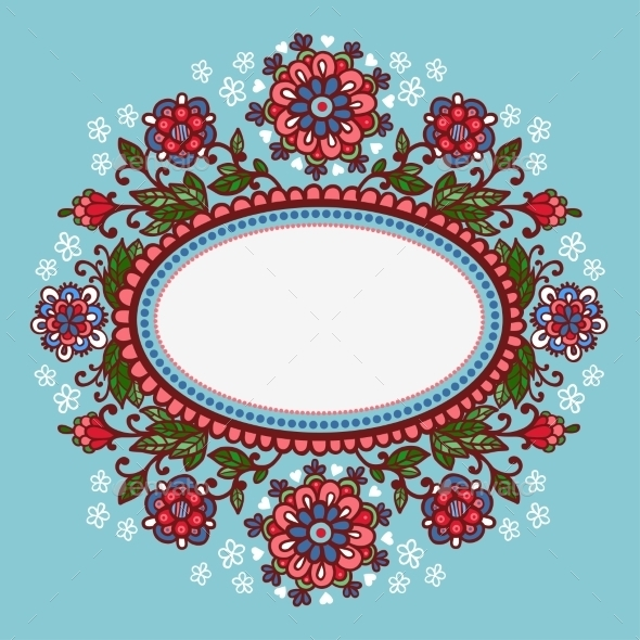 Oval Frame With Flowers. - Decorative Symbols Decorative
