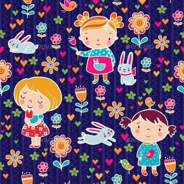 Cute Girl Seamless Pattern. - Flowers & Plants Nature