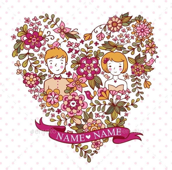 Wedding Heart With Flowers And Birds. - Flowers & Plants Nature