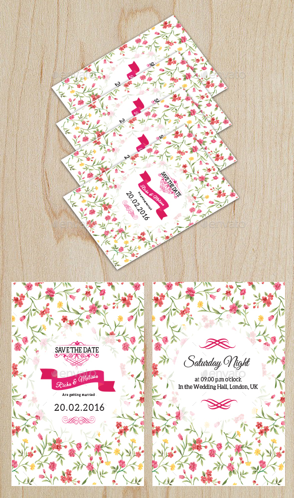 Floral Wedding Card 2 - Cards & Invites Print Templates