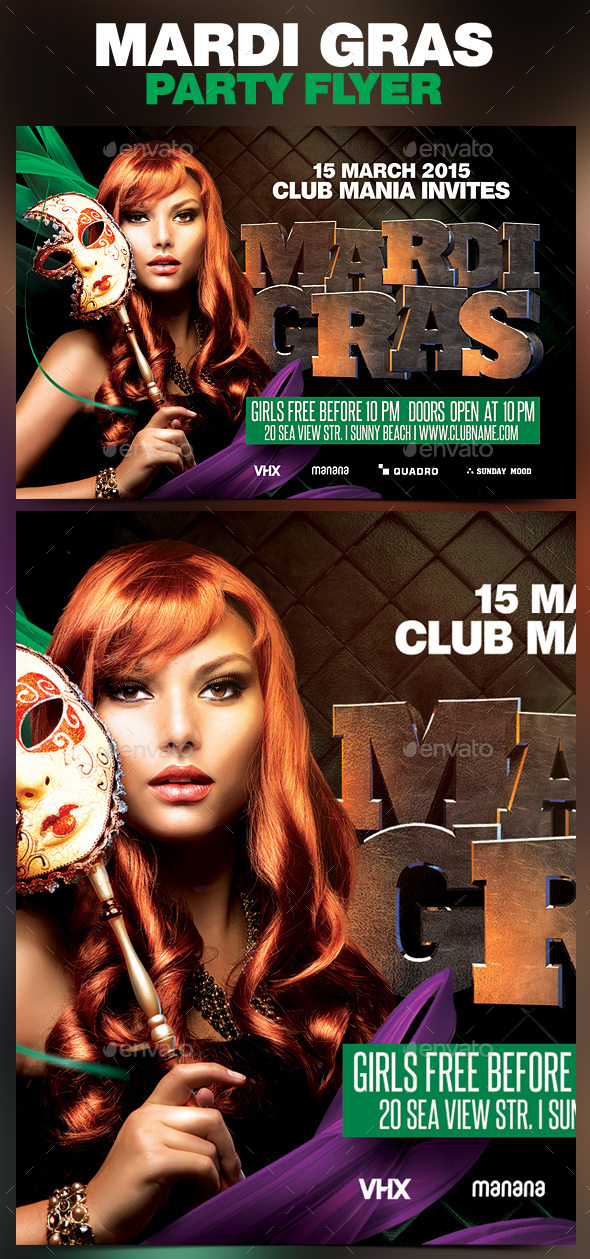 Mardi Gras Party Flyer v.4 - Clubs & Parties Events